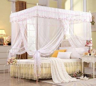 Regalo! Baldacchino da principessa per letto matrimoniale, bianco , White, King (1 X Bed Canopy+Bed Canopy Frame)