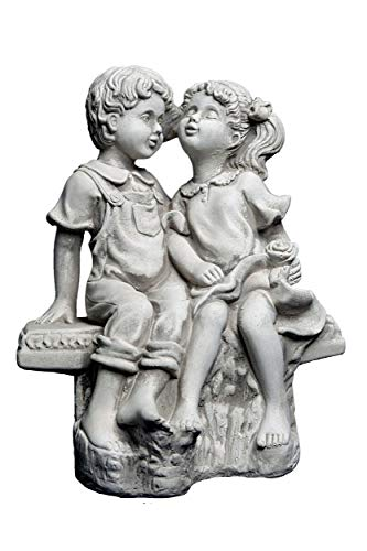gartendekoparadies.de Wunderschöne Steinfigur Mädchen und Junge auf Einer Bank aus Steinguss, frostfest