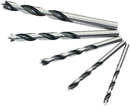 AERZETIX - Juego de 5 Brocas para madera - Mechas para taladrar madera - Mandril de taladro/destornillador - Ø4/5/6/8/10mm - Vástago cilíndrico - Acero Galvanizado Metal - Color plata - C44993