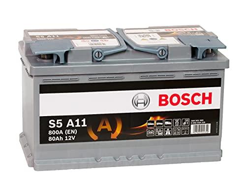 Bosch S5 A11 80Ah 12V AGM Ersatzbatterie für die Mercedes C-Klasse (W205) C200 d Diesel mit Start Stopp - kann auch bei vielen anderen Automodellen verbaut werden