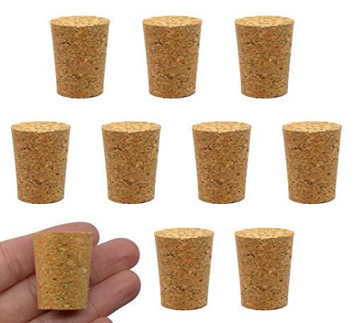 cork raw materials 10PK Cork Stoppers, Size #10-20mm Bottom, 25mm Top, 31mm Length - Tapered Shape, Natural Bark Material - Great for Household & Laboratory Use - Eisco Labs
