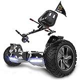 RCB Hoverboard 8.5 Pouces et Hoverkart Anti-Choc Scooter Electrique Tout Terrain Gyropode SUV avec LEDs Bluetooth Hoverseat Robuste pour Adultes et Ados