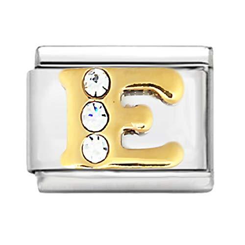 AKKi Italian Charm Alle Buchstabe Alphabet für Armband, Silber Edelstahl Schmuck Italy Links Kult modele Glieder E