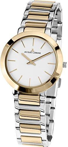 Jacques Lemans Reloj Analógico para Mujer de Cuarzo con Correa en Acero Inoxidable 1-1842.1D