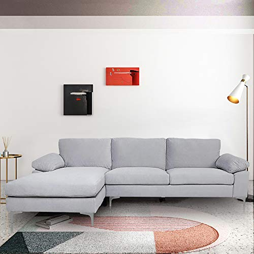 Restar Sectional Couch Left-Hand Facing, L-Shaped Couch for Family Living Room, Modern Large Velvet Sectional Sofa with an Extra-Wide Chaise Lounge (Light Grey)
