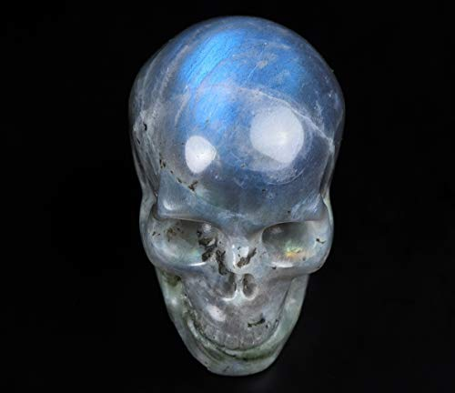 Skullis 2.0' Labradorite Crystal Skull, Hand Carved Gemstone Fine Art Sculpture, Reiki Healing Stone Statue.