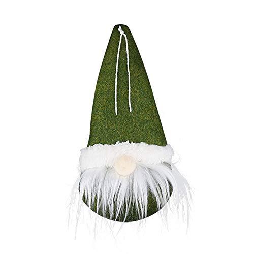Xuntung Festivals Hängende Anhänger Der Weihnachtsmann Embellierung Weihnachtsbaumes Christmas Dolls Gefüllte Spielzeuge Zwerg ohne Gesicht(Type 3,green)