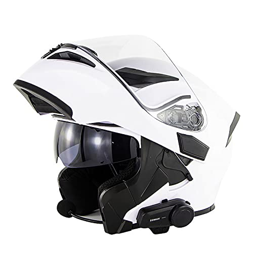NBMNN Motorcycle Bluetooth Helmet,Modular Full Face Flip up Bluetooth Headset with Double Visor Bluetooth Headset, Automatic Answering Mp3 FM Intercom,ECE Approved B,L=57~58CM