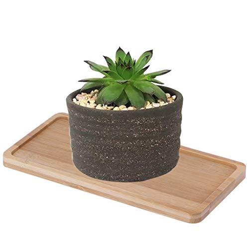 Sottovaso rettangolare in bambù, vassoio in legno, mini vaso per piante