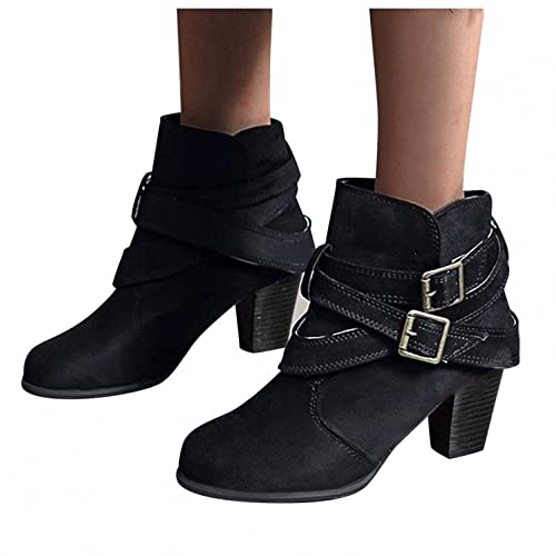 Womens Boots with Heel, Fashion 2021 Ankle Booties Fashion Round Toe Buckle Strap Chunky Heel Boots Combat Boots