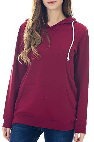 Smallshow Schwangere Pflege Damen Langarm Stillen Shirt Sweatshirt Kapuzenpullover Stillzeit Wine L