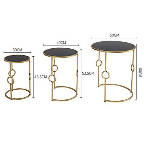 DGDHSIKG Couchtisch Metall Couchtisch, Wohnzimmer, Sofa, Beistelltisch, Kleiner runder Tisch, 3-teiliger...