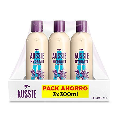 Aussie Champú, Hydrate, Hidratación Profunda, 3 Champús 300 ml