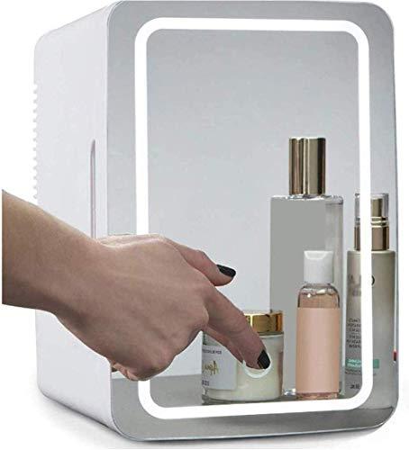 Mini Nevera 8 Litros Cosmético Nevera 2 en 1 Espejo de Maquillaje Cuidado de la Piel Nevera con Luz LED Compacto Portátil