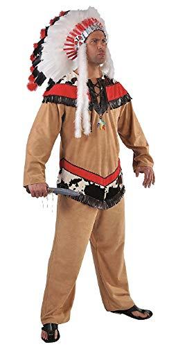 M215236-XXL - Disfraz de guerrero indio (talla XXL), color marrn y rojo