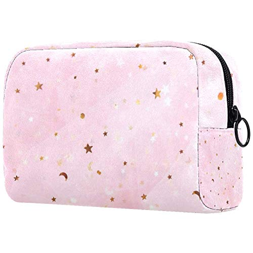 Bolsa de maquillaje de ensueño, infantil o cuento de hadas, con soporte para brochas de viaje, bolsa de aseo portátil con cremallera negra para mujeres y niñas
