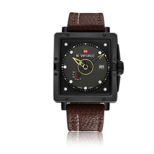 Reloj para Hombre Cronógrafo Reloj de Cuarzo analógico Vestido de Negocios Masculino -D