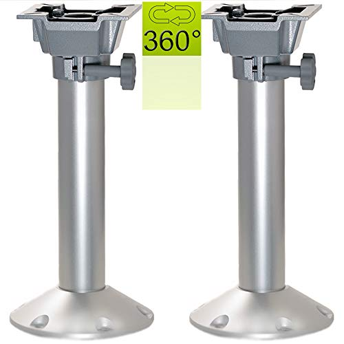 wellenshop 2 x Stuhlsockel 447 mm Aluminium Sitzkonsole 360° drehbar
