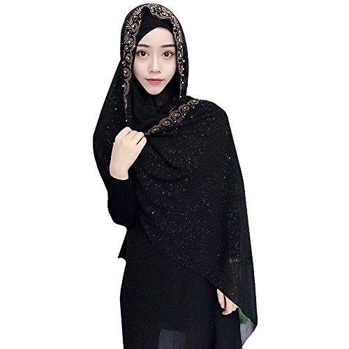 Adela Boutique Women Lightweight Scarf Muslim Turban Hijab Cap Long Scarf Wrap Shawl (Black)