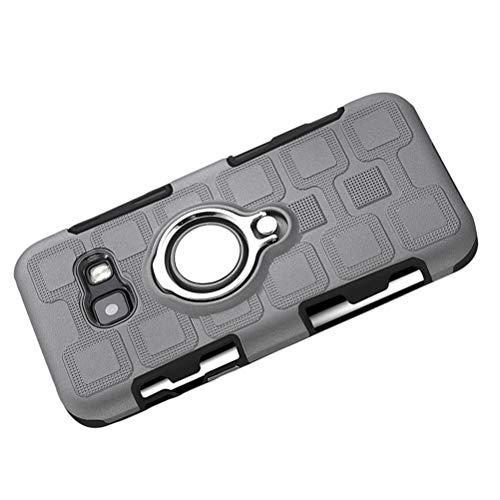 Capa de telefone para Samsung Galaxy A3 2017 (prata) com clipe traseiro de 360 graus, anel magnético, resistente à prova de choque, TPU macio e policarbonato rígido, Grey Samsung Galaxy A3 2017