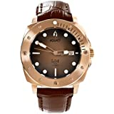 Aquacy Bronze CuSn8 Series Automatic Men's Black/Brown Dial Brown Strap Watch - Japan Automatic Self Winding Movement & Italian Leather Strap
