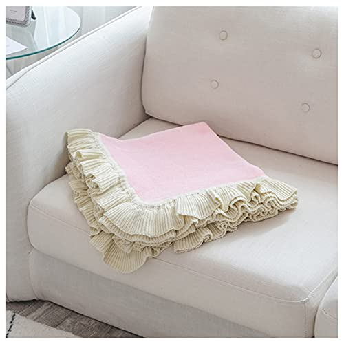 RF-Influx Knitting Ruffle Throw Blanket, 100% Cotton Bed Blanket Sofa Cover for Home Décor Couch Chair, Decorative Throws,130 x 160cm (Pink)