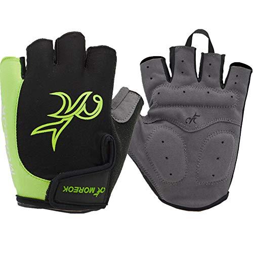 Fahrradhandschuhe Halbfinger Handschuhe Fingerlos Schwarz Fahrradhandschuhe Damen Motocross-Handschuhe Bikerhandschuhe für Männer Green,L