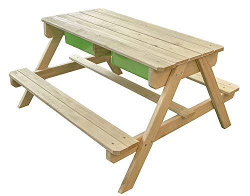 Beauty.Scouts Picknicktisch Julius aus Zedernholz braun 90x89x50cm Wassertisch Sandtisch Matschtisch Sitzgruppe Holz Gartentisch Spieltisch Kinder modern robust