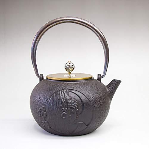 Tetera Teapot Tea Kettle Tetera tetera 1200 ml tetera de hierro fundido japonés tetera tetal tetal fundido hierro tetal hetterle hecho a mano Buda estatua zen patrón de hierro fundido hervidor de hier