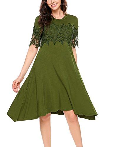 Beyove Damen Sommerkleid Cocktailkleid Asymmetrisch Spitze Kleid Strandkleid A-Linie Knielang Kurzarm