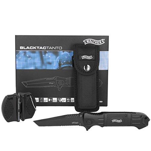 Walther Black Tac Tanto Einhandmesser Inklusive Messerschärfer und Walther Etui