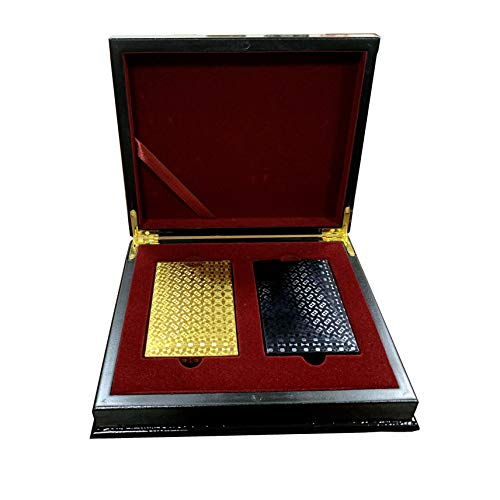 Trendcool Cartas Poker. Baraja Poker Juego de Mesa con Caja Madera. Baraja de Cartas Poker Impermeable. Baraja Poker Negras, Doradas, Oro. (Gold+Black+Box)