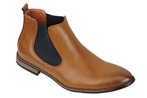 Xposed Herren Wildleder Chelsea Stiefel Italienisch Stil Smart Casual Retro Knöchelschuhe, Gr.-UK 10/ EU 44, Tan Brown-pu Leather