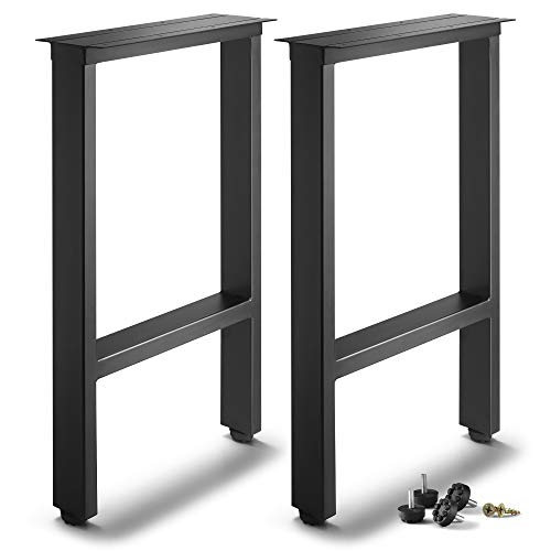 """CRIZTA Set of 2 Metal Table Legs 28 inch Height 17.7"""" Wide Square, Rustic Heavy Duty Leg for Dining Furniture, Wood Coffee Bench Tables and Desk - Black Powder Coated (Black)"""