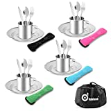 Odoland 25pcs Stainless Steel Utensils Camping Tableware Kit with Plates Cups Forks Spoons and Knives for 4, Cutlery Flatware Set for Backpacking, Outdoor Camping Hiking and Picnic
