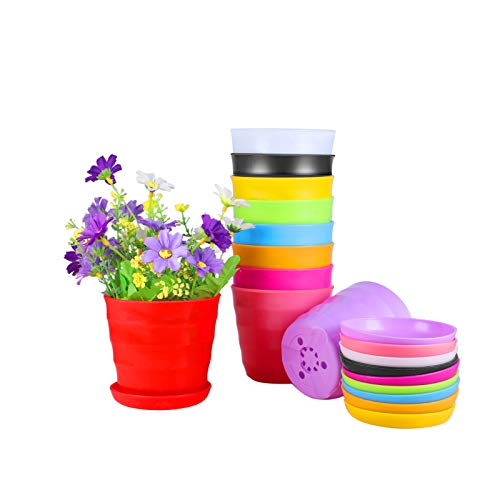 Plastic Planters Indoor Flower Plant Pots Set of 10 Modern Decorative Gardening Containers for All House Plants Herbs Foliage Plant and Seeding Nursery 43 INCH