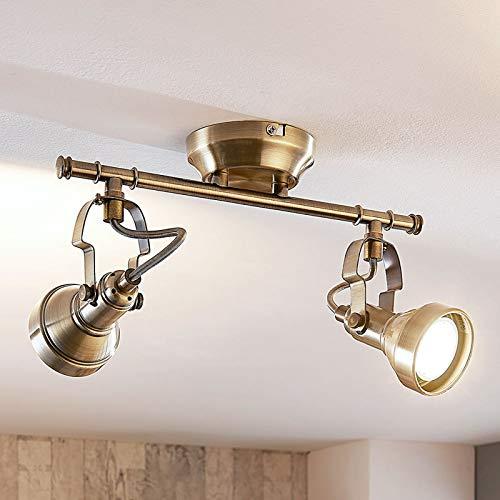 Lindby LED Deckenleuchte 'Perseas' (Vintage, Industriell) in Bronze aus Metall u.a. für Wohnzimmer & Esszimmer (2 flammig, GU10, A+, inkl. Leuchtmittel) - Lampe, LED-Deckenlampe, Deckenlampe