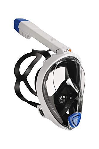 OCEAN REEF - Máscara de Snorkel UNO - Máscara de Snorkel de Cara Completa con Boquilla - Visión Marina de 180 Grados - Color Blanco - Talla S/M