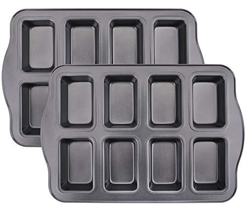 Lawei 2 Pack Mini Loaf Pan - 8 Cavity Non-Stick Bread Pans Carbon Steel Baking Pan