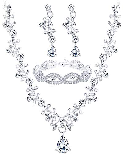 Finrezio Wedding Bridal Jewelry Set Crystal Necklace Earrings Bracelet Sets for Women Gift