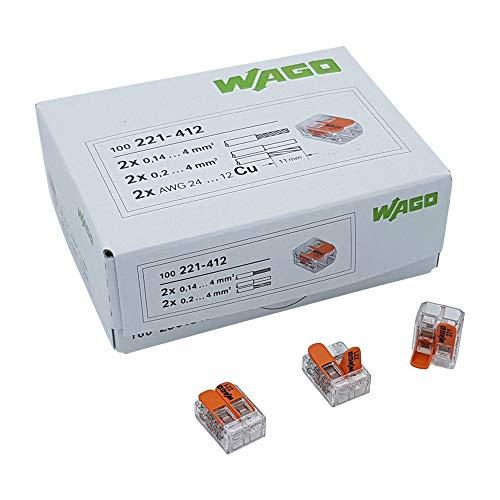 200 Stück Wago 221-412 Verbindungsklemme 2 Leiter mit Betätigungshebel 0,2-4 qmm kleine Bauform, transparent