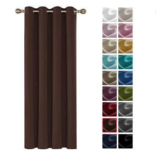 Deconovo Tenda Oscurante Termica Isolante con Occhielli 100% Poliestere Cioccolato 140x260 CM Un Pannello