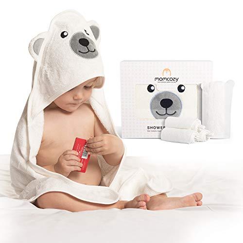 Momcozy Bambú Juego de Toallas de Baño para Bebé, Toalla Bebe Capucha 1 Pieza, Toalla Bebe 3 Piezas, Guante de Baño para Bebé 1 Pieza, Suave, Transpirable, Adecuado para Niñas y Niños