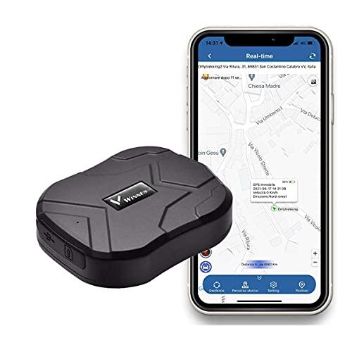 Localizador GPS, GPS Tracker Tarjeta SIM Gratuita 5000 mAh con Alarma Geo-Fence Rastreador GPS Posición Aplicación Gratuita para Coche Vehícul Camión