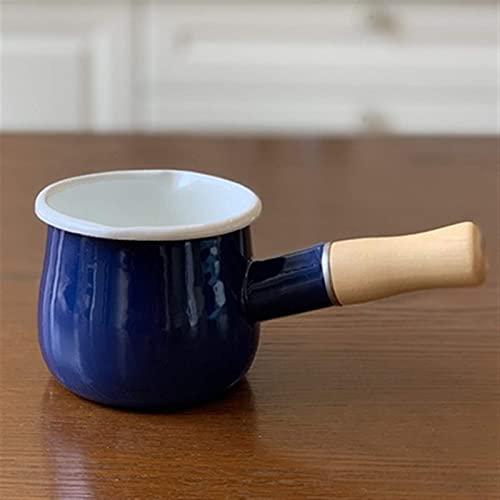 TIYKI Sartén de 550 ml esmaltada para leche Sartén con mango de madera individual Sartén para calentar mantequilla y café Cocina Olla de cocción con boquilla de vertido doble (Color: