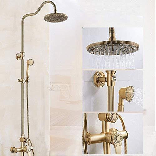 Yhtech Ducha de conjunto de tubo de encaje caliente y frío Conjunto de ducha grifo de la ducha de 10 pulgadas Round Top aerosol de la ducha Sistema de 3 modos de doble elevación de abastecimiento de a