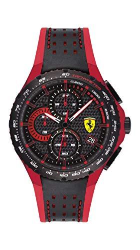 Ferrari Men's Aluminium Quartz Watch with Leather and Silicone Strap, Black and Red, 20 (Model: 830733)