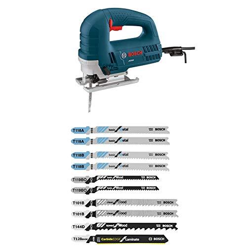 Bosch JS260 120-Volt Top-Handle Jigsaw,Blue,6.0 Amp with 10 pc. Laminate/Wood/Metal T-Shank Jig Saw Blade Set
