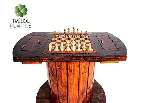 TRÉBOL ADVANCE Mesa de Juegos Madera Artesanal Ajedrez con bobinas de Cable Exclusivo Original Hecho a Mano