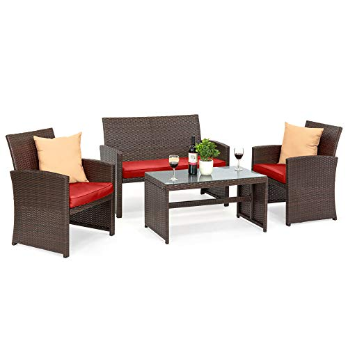 Best Choice Products 4-Piece Wicker Patio Conversation Furniture Set w/ 4 Seats, Tempered Glass Tabletop - Brown Wicker/Red Cushions